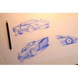 Croquis Porsche (lot de 3)